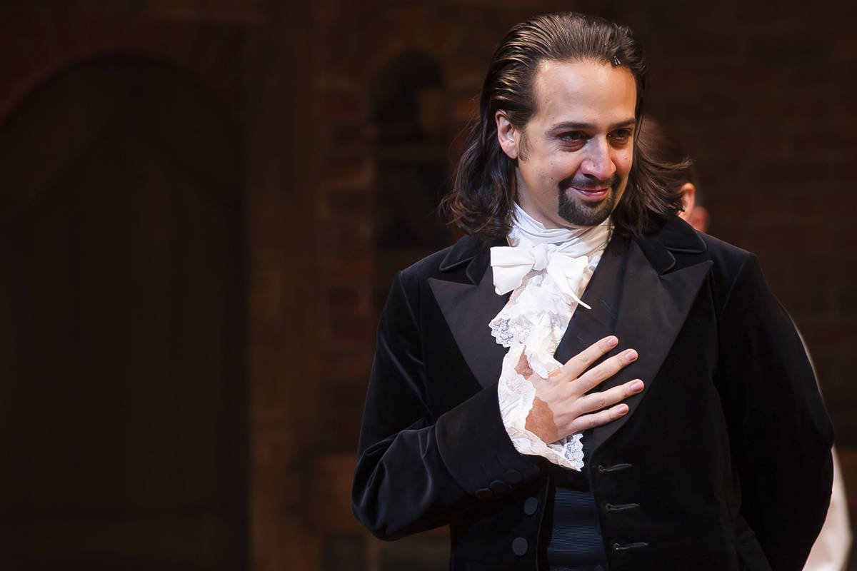 FILE - In this Aug. 6, 2015, file photo, Lin-Manuel Miranda appears at the curtain call followi ...