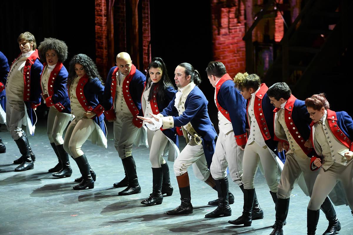 "Actor Lin- Manuel Miranda, center, performs with the cast of ""Hamilton"" at the Tony A ..."