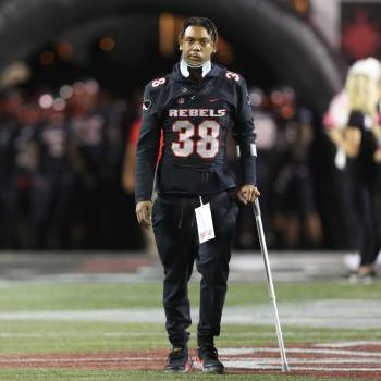 UNLV Rebels defensive back Ty'Jason Roberts (38) walks to the field before a football game agai ...