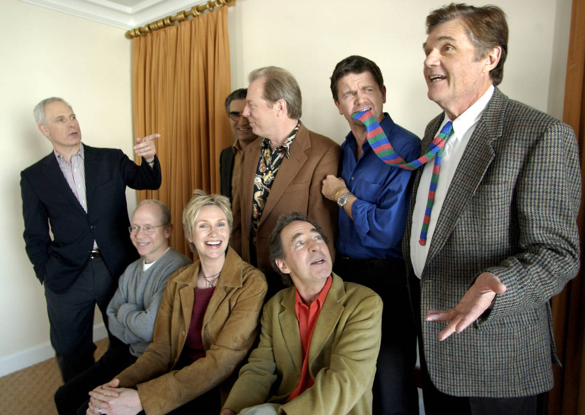 "FILE - In this March 21, 2003, file photo, the cast of the film ""The Mighty Wind,"" st ..."
