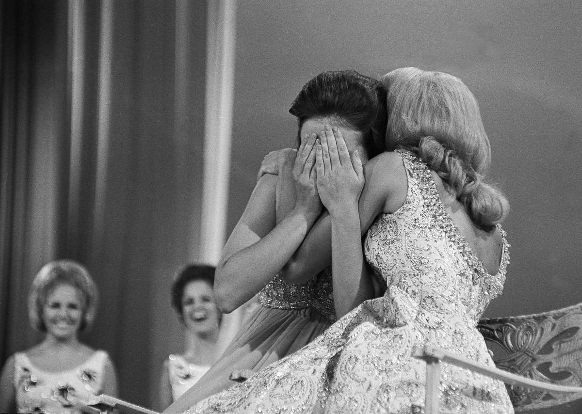 Miss Texas, 21-year-old Phyllis George of Denton, Tex., reacts when she hears that she has just ...