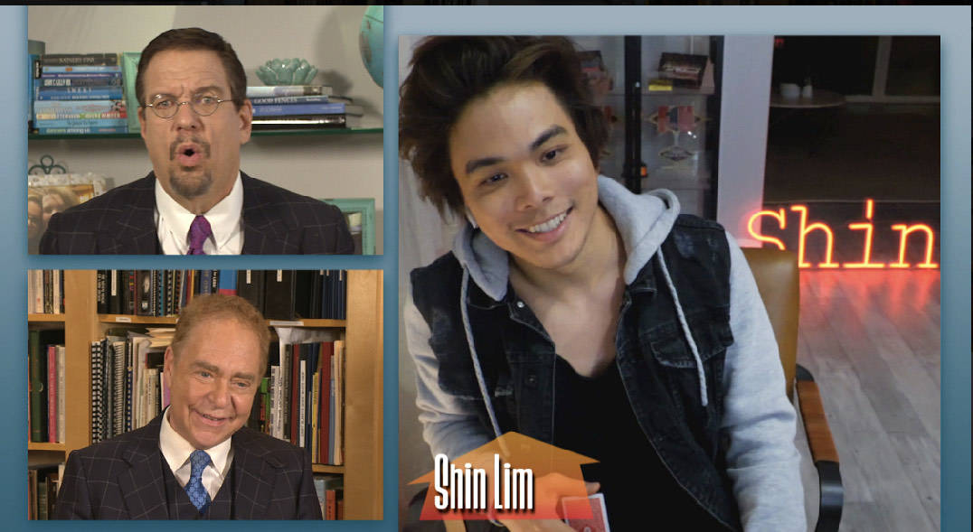 """Penn & Teller and Shin Lim are shown shown during Penn & Teller's CW special """"Try This At Home. ..."""