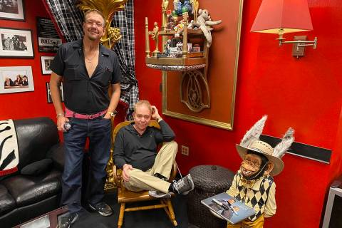 Penn & Teller are shown in the Monkey Room at the Rio on Tuesday, Feb. 25, 2020. (John Katsilom ...