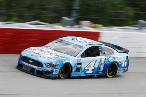 Kevin Harvick (4) drives during the NASCAR Cup Series auto race Sunday, May 17, 2020, in Darlin ...