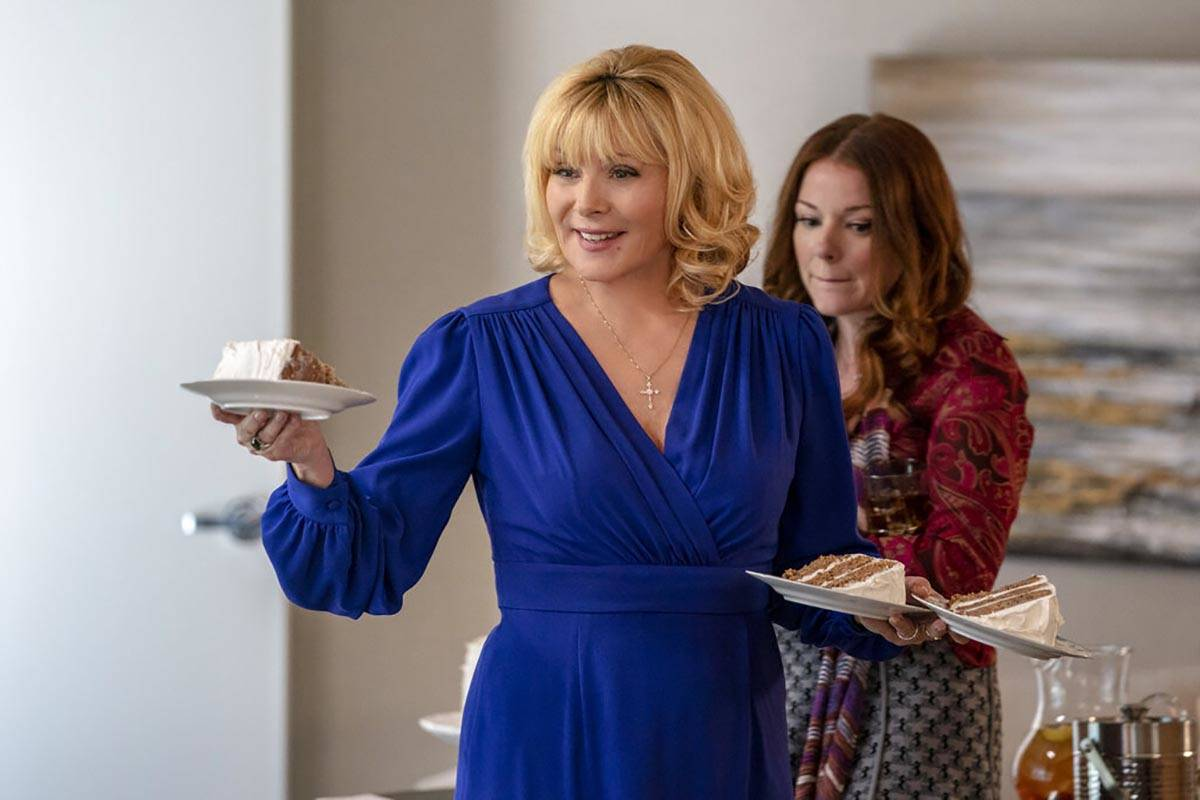 """An image released by FOX shows Kim Cattrall, left, and Aubrey Dollar in a scene from """"Filthy Ri ..."""