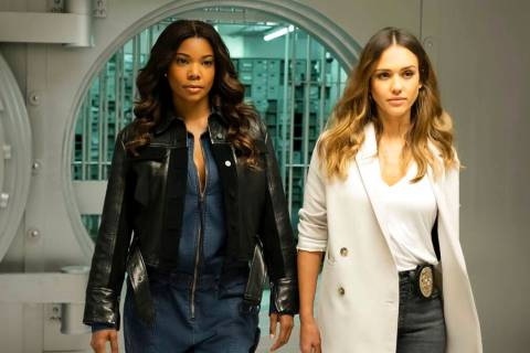 "An image released by FOX hows Gabrielle Union, left, and Jessica Alba in a scene from ""L.A.'s F ..."