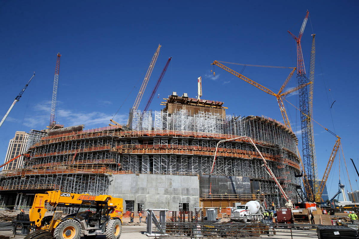 Construction continued at the MSG Sphere at The Venetian in Las Vegas Thursday, March 12, 2020. ...