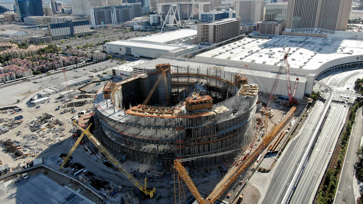 An aerial photo of the dormant construction site at the MSG Sphere at the Venetian, a collabor ...