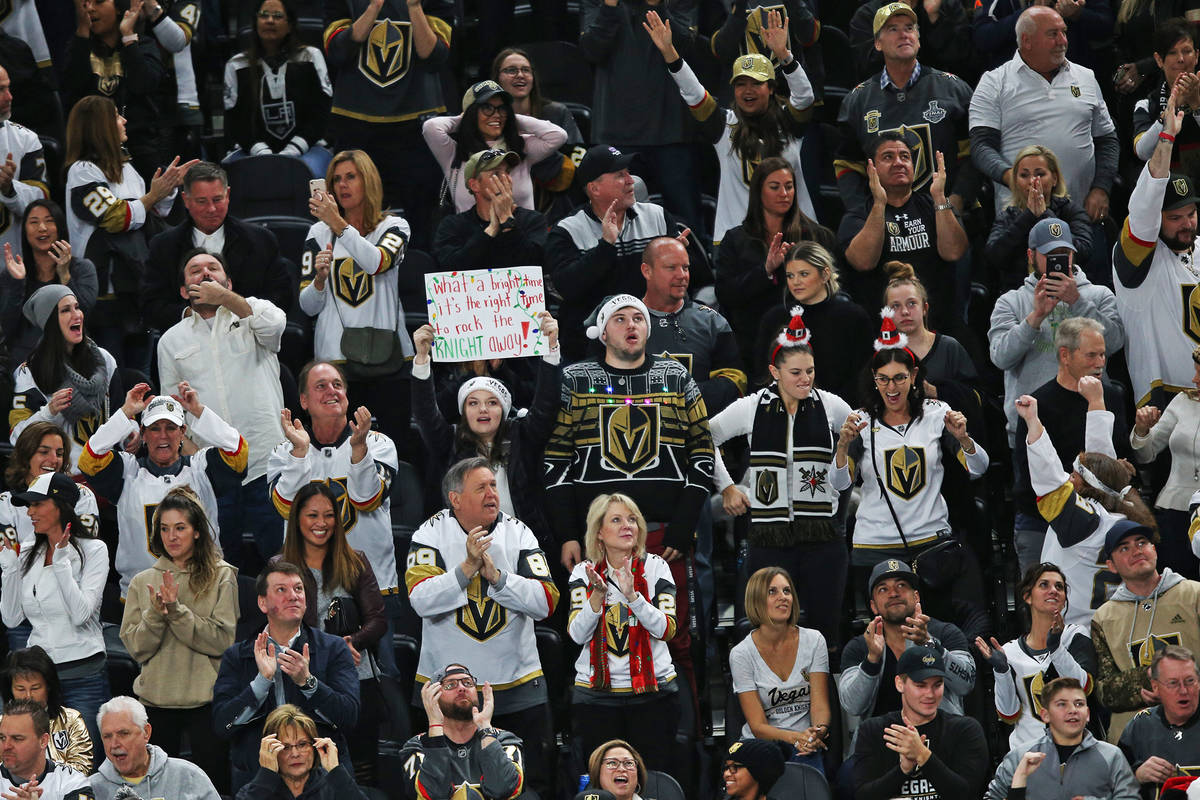 The crowd cheers during a game of the Vegas Golden Knights against the Los Angeles Kings at T-M ...
