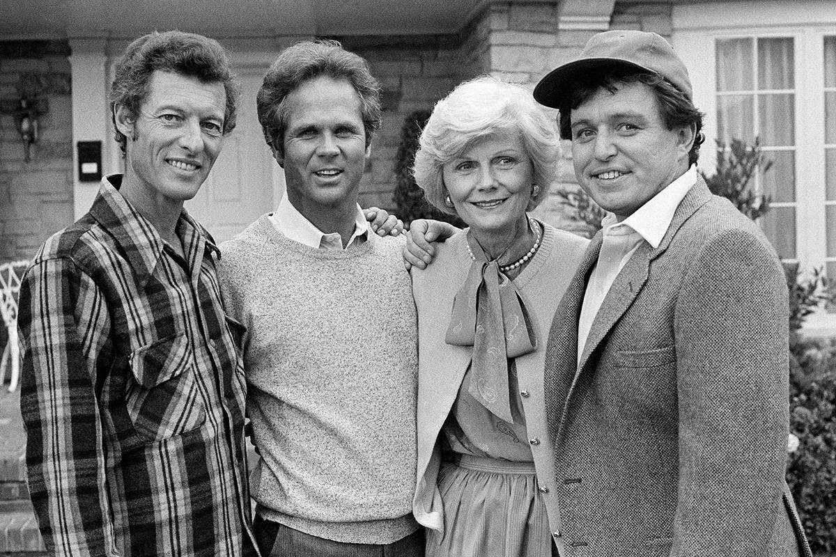 """FILE - This Dec. 10, 1982 file photo shows members of the original cast of the """"Leave It T ..."""