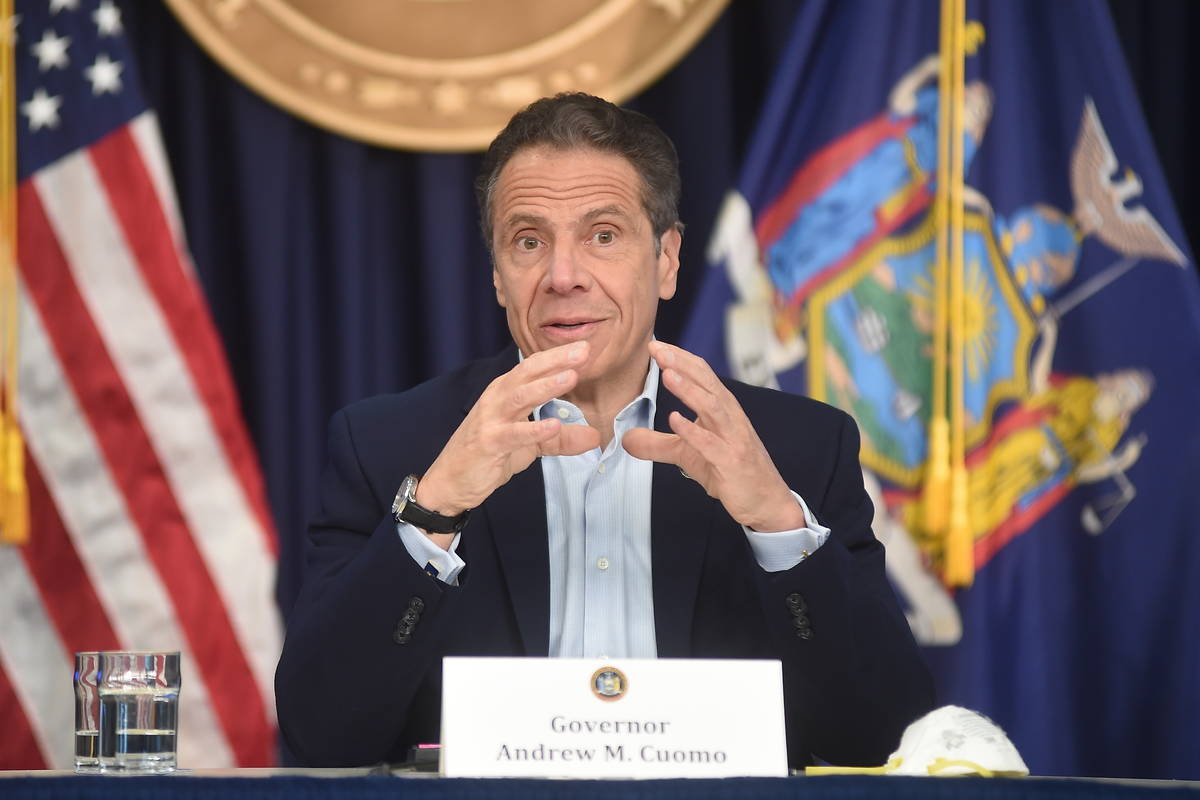 New York Gov. Andrew Cuomo briefs the media during a coronavirus news conference at his office ...