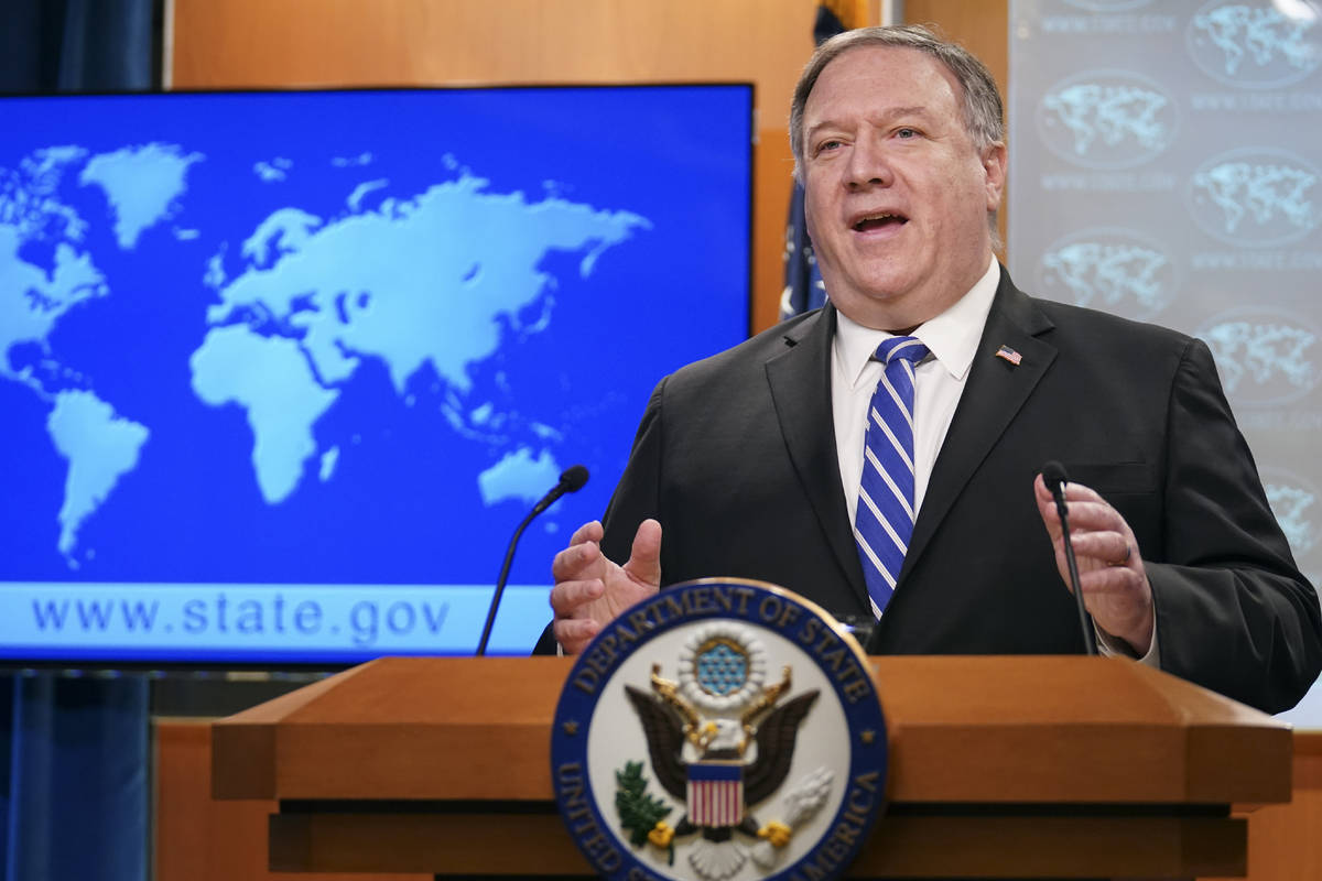 Secretary of State Mike Pompeo speaks about the coronavirus during news conference at the State ...