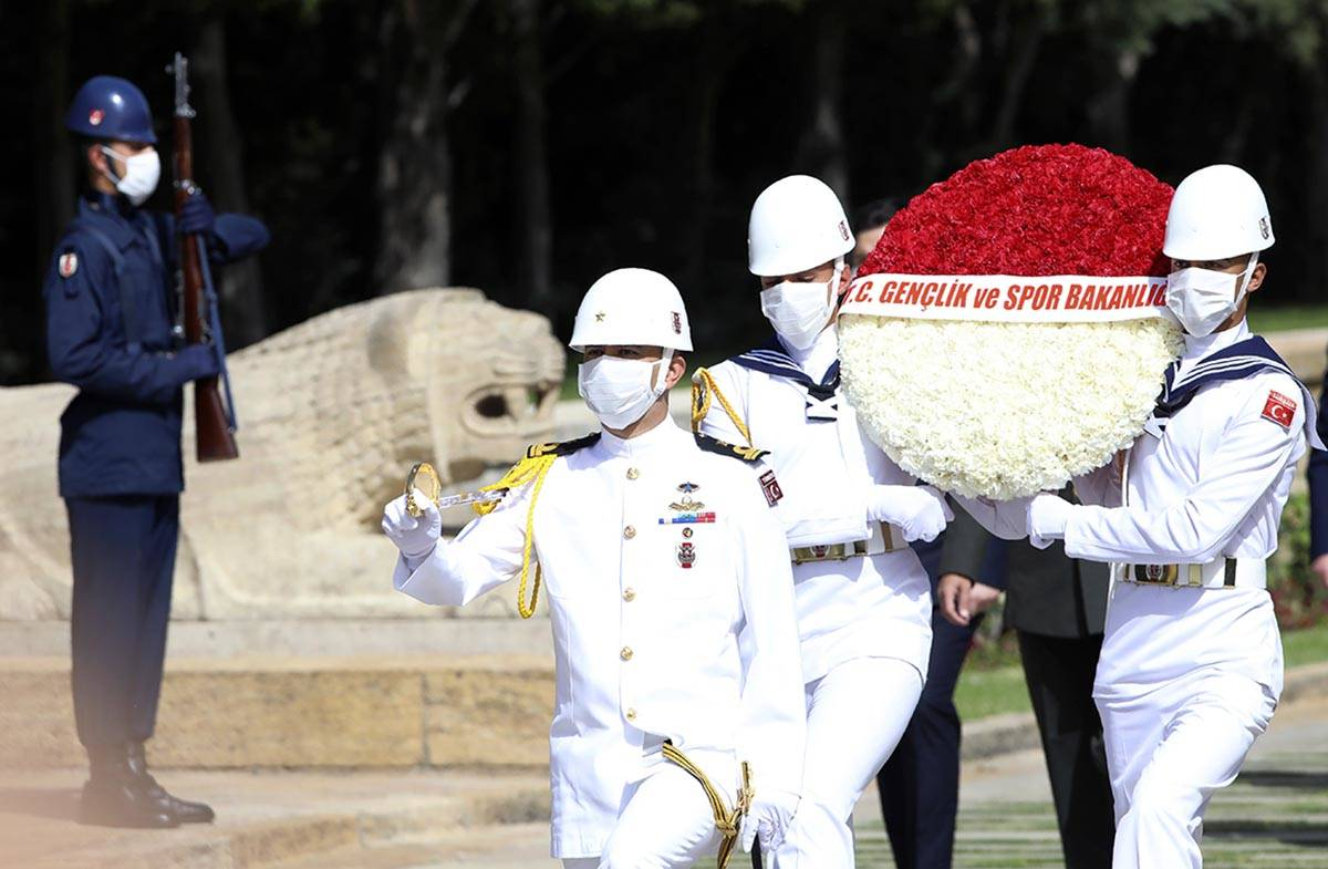 Turkish honour guard soldiers wearing face masks for protection against the new coronavirus, wa ...