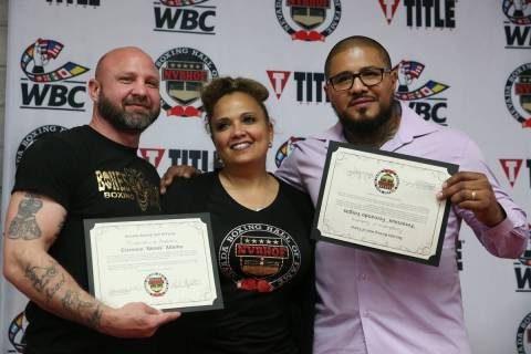 Former professional boxers Clarence Adams, left, and Fernando Vargas, hall of fame inductees, w ...