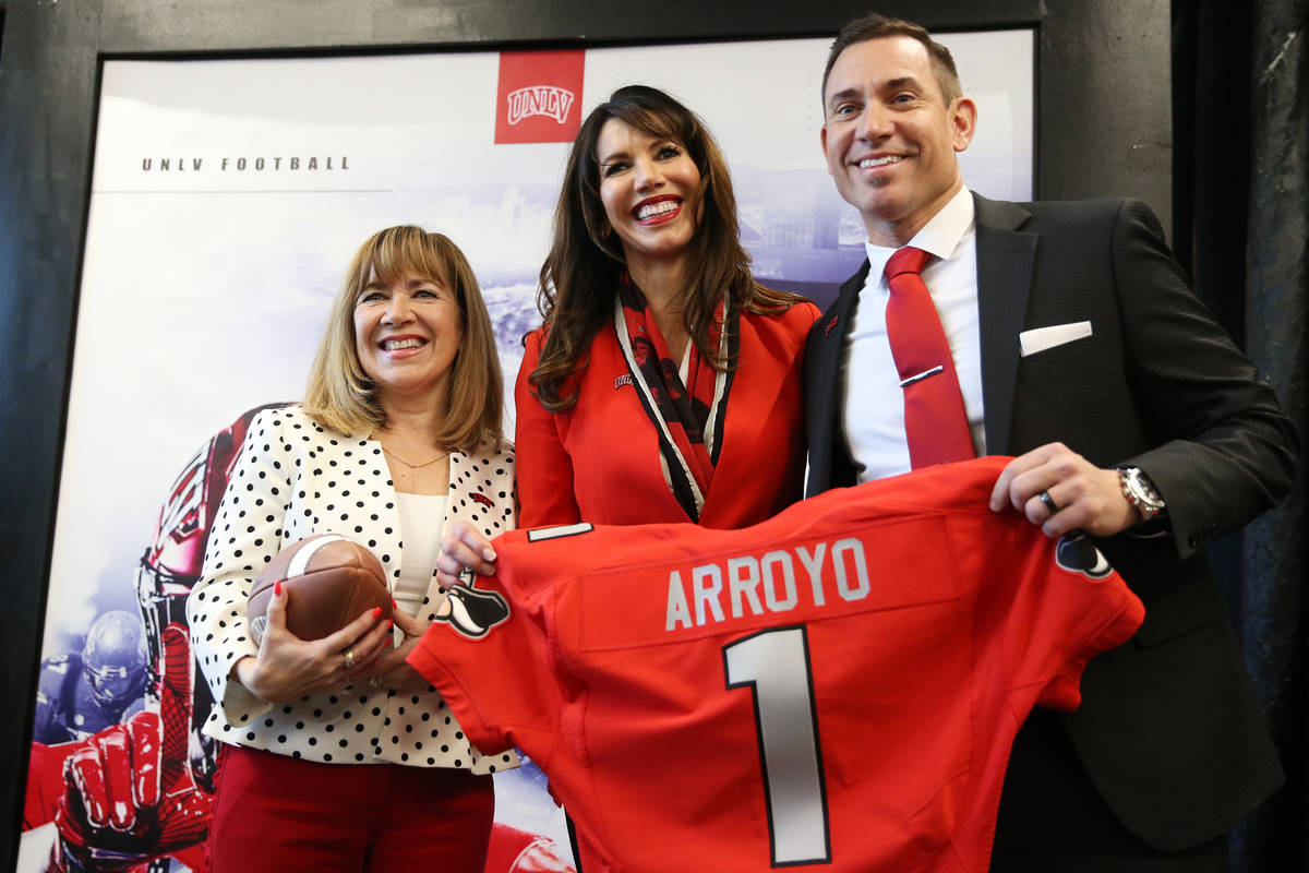 UNLV's President Marta Meana, from left, Athletic Director Desiree Reed-Francois, and new Footb ...