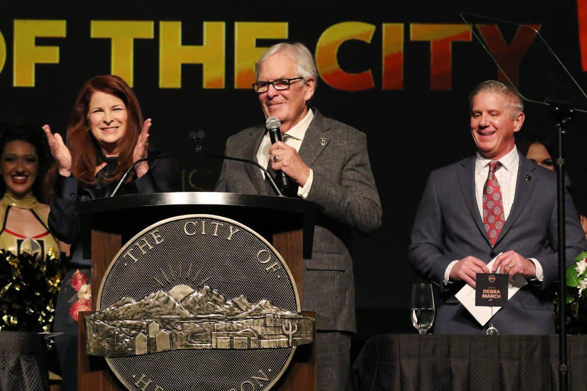 Henderson Mayor Debra March, left, applauds as Golden Knights owner Bill Foley speaks as team p ...