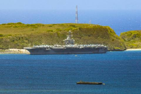 FILE - In this April 3, 2020, file photo, the USS Theodore Roosevelt, a Nimitz-class nuclear po ...
