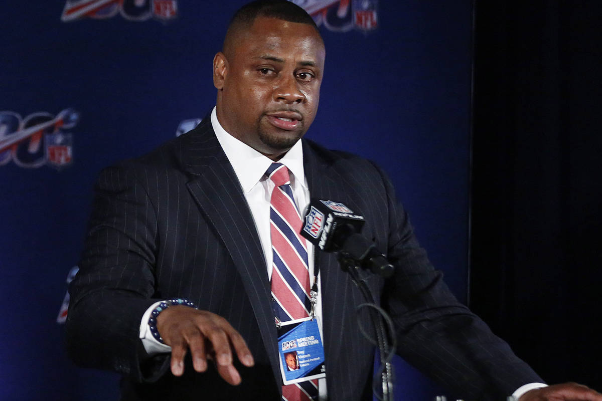 In this May 22, 2019, file photo, Troy Vincent, NFL executive vice president, speaks to the med ...