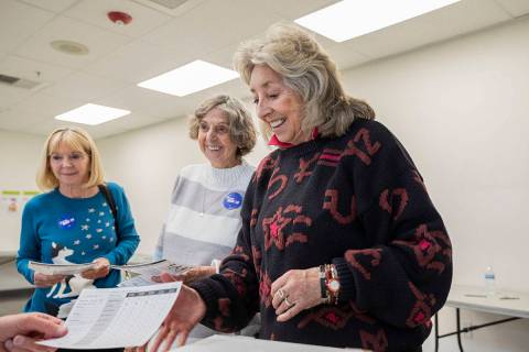 Rho Hudson, left, Betty Titus, center, and Rep. Dina Titus, D-Nev., cast their early vote at Ca ...