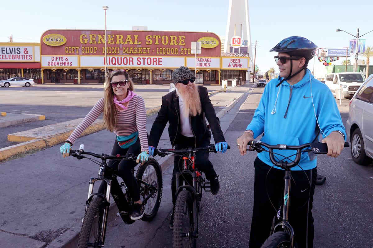 Las Vegas resident and ZZ Top frontman Billy Gibbons rides down Las Vegas Boulevard at Sahara A ...