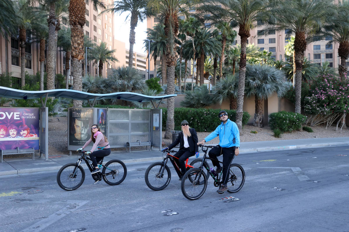 Las Vegas resident and ZZ Top frontman Billy Gibbons rides down the Strip in Las Vegas with his ...