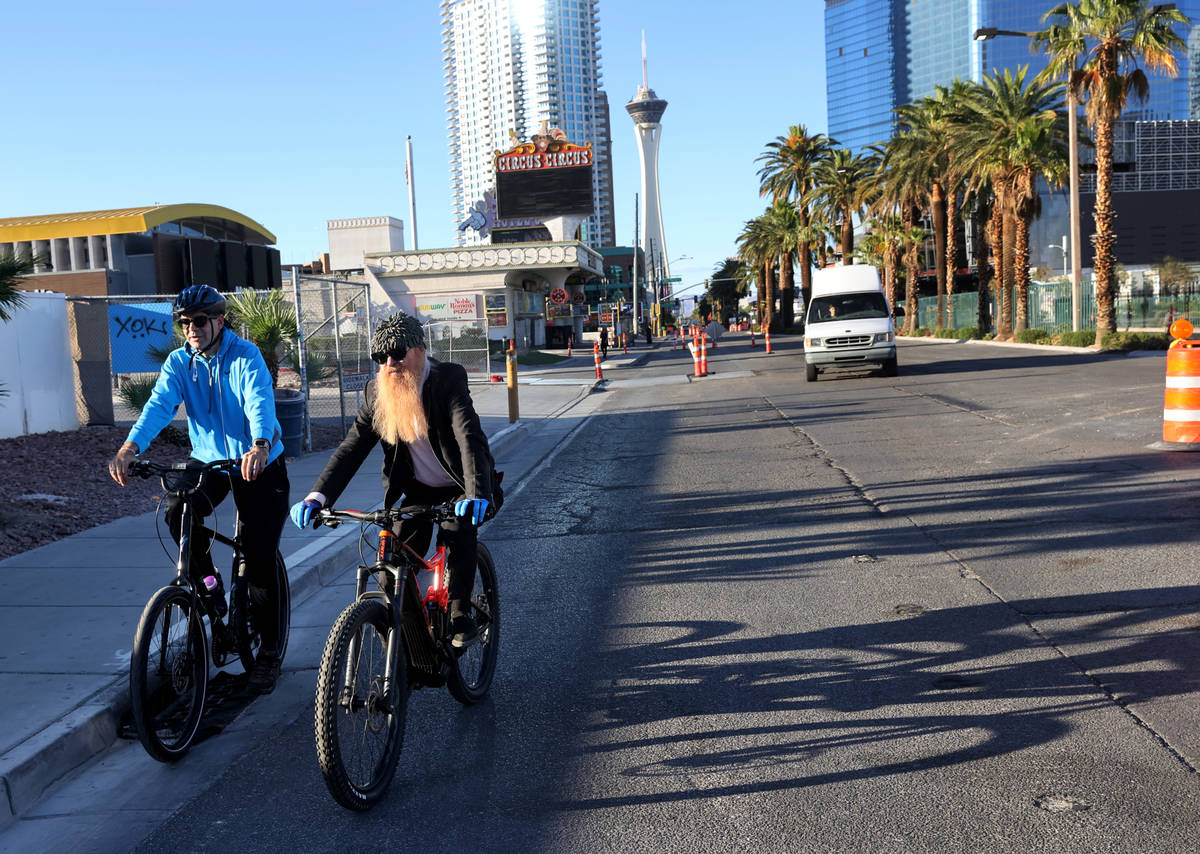 Las Vegas resident and ZZ Top frontman Billy Gibbons rides down the Strip in Las Vegas with Las ...