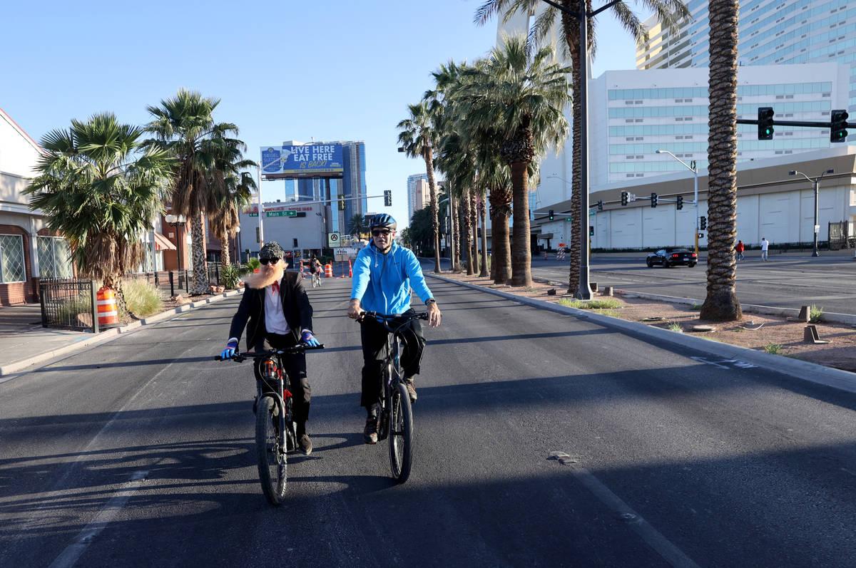 Las Vegas resident and ZZ Top frontman Billy Gibbons rides up Las Vegas Boulevard in Las Vegas ...