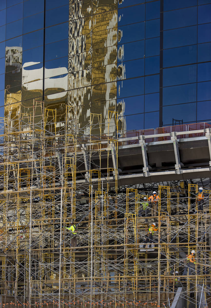 Crews at Allegiant Stadium begin to take down scaffolding on Tuesday, May 19, 2020, in Las Vega ...
