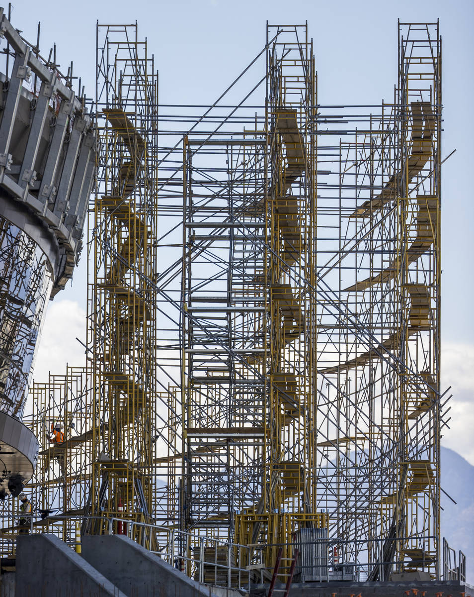Crews at Allegiant Stadium begin to take down scaffolding on tTuesday, May 19, 2020, in Las Veg ...