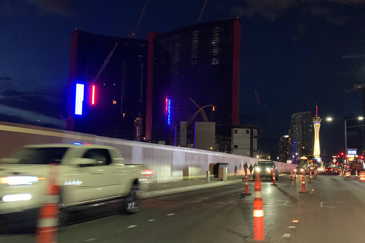Construction crews tested lighting outside Resorts World Las Vegas on Tuesday, May 19, 2020. (D ...