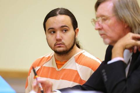 Dakota Saldivar, left, with his attorney Harry R. Gensler during a preliminary hearing in Pahru ...