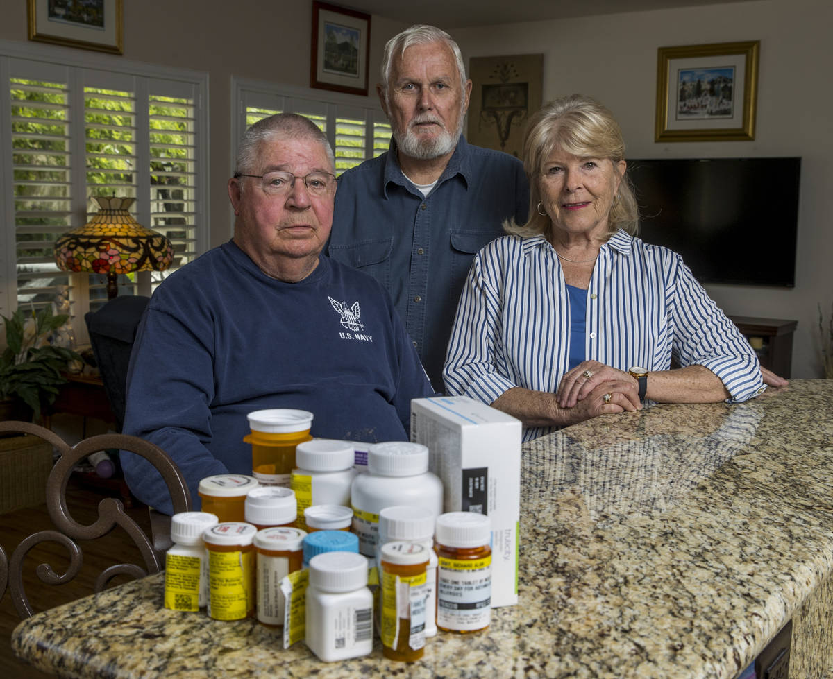 Military retirees Ken Knudsen, left, with Rich and Sheila Gray are no longer allowed to use the ...