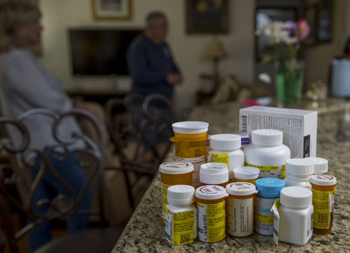 Medications taken by military retirees Rich and Sheila Gray who are no longer allowed to use th ...