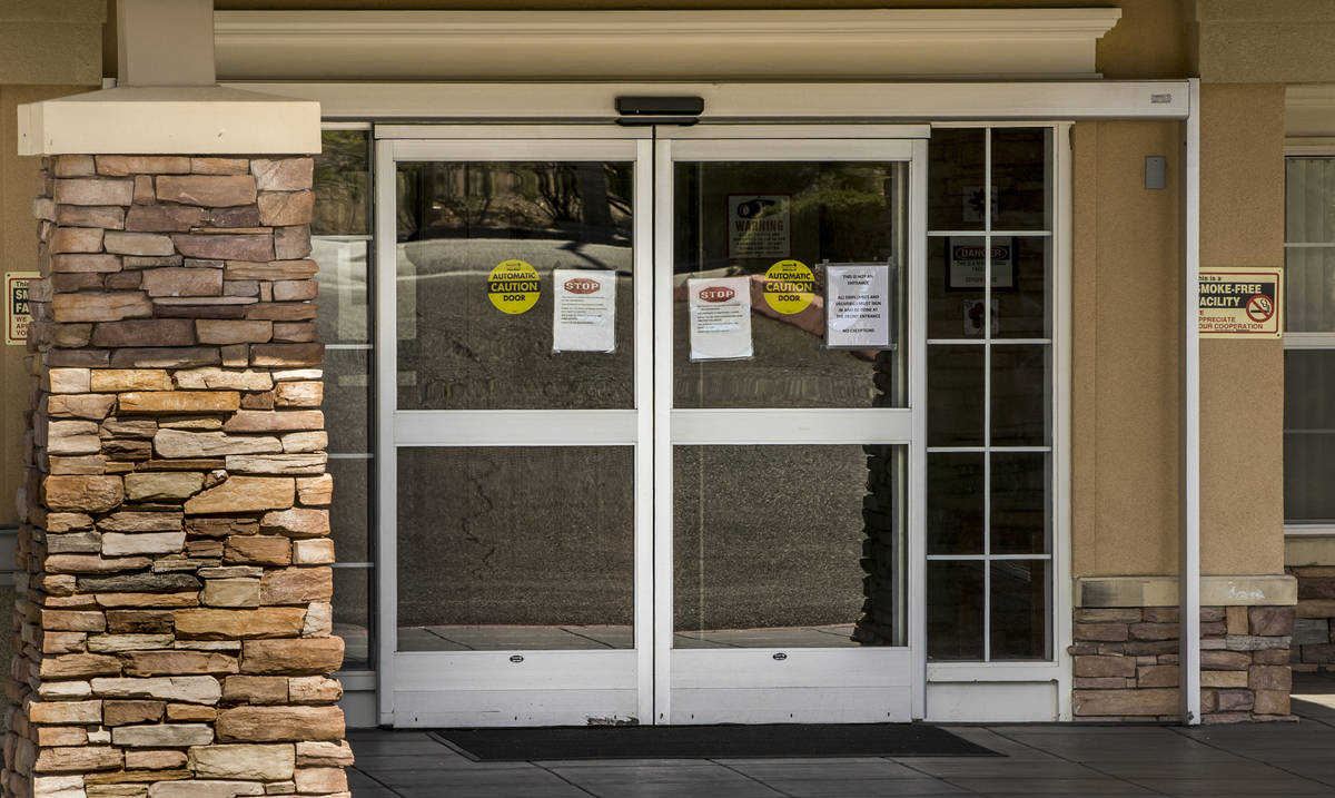 Entry doors of The Heights of Summerlin which has had numerous deaths there due to Covid-19 on ...