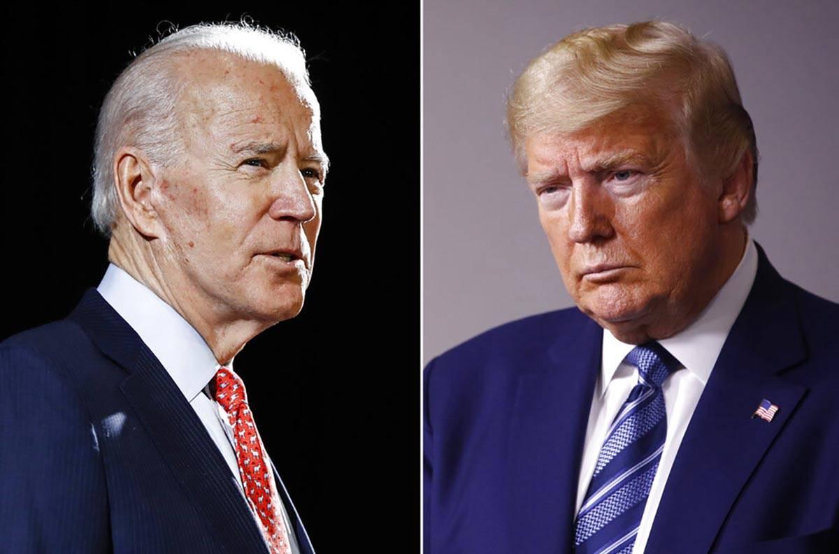In this combination of file photos, former Vice President Joe Biden speaks in Wilmington, Del., ...