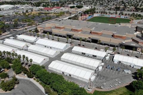 An aerial view of construction of the Cashman Isolation-Quarantine Complex in Las Vegas on Tues ...