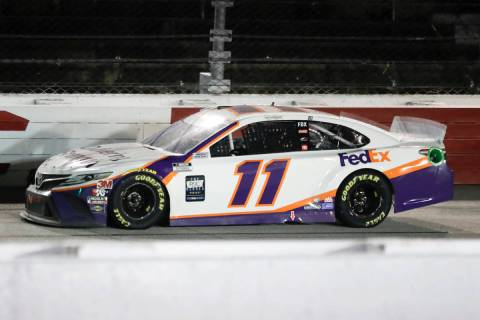 Denny Hamlin (11) drives during the NASCAR Cup Series auto race Wednesday, May 20, 2020, in Dar ...