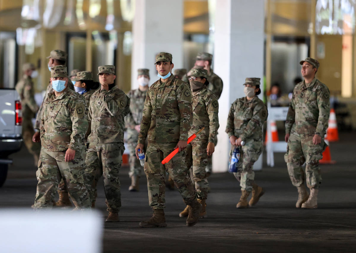 National Guard soldiers during a preview of a Clark County/University Medical Center drive-thru ...
