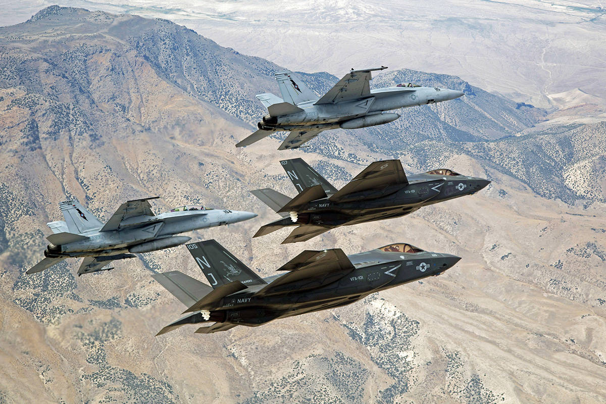 FILE - In this Sept. 3, 2015, file photo provided by the U.S. Navy, F-35C Lightning IIs, attach ...