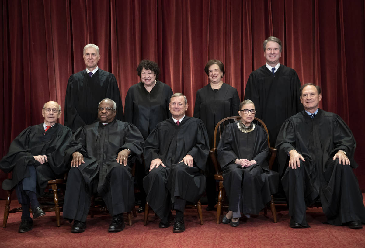FILE - In this Nov. 30, 2018, file photo, the justices of the U.S. Supreme Court gather for a f ...
