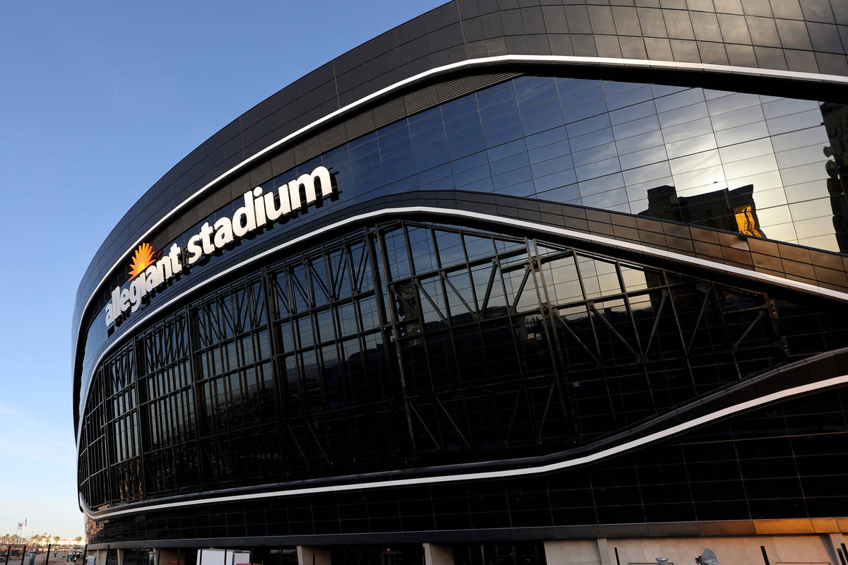 Allegiant Stadium, home of the Las Vegas Raiders, just off the Strip Thursday, May 7, 2020. (K ...