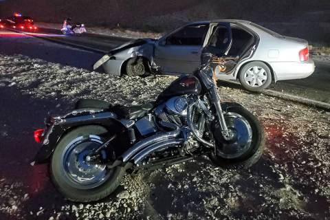 Troopers investigate a fatal crash Thursday, May 21, 2020, at East Lake Mead Boulevard and Los ...