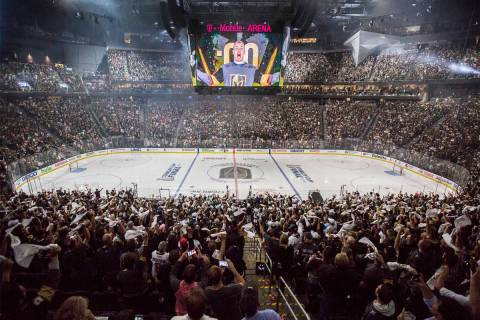 T-Mobile Arena is packed for Game 2 of the NHL Stanley Cup Final between the Golden Knights and ...