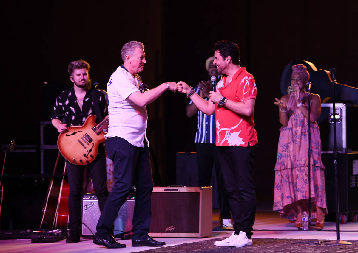 Major League great Orel Hershiser joins Frankie Moreno onstage at The Amp at Craig Ranch Region ...