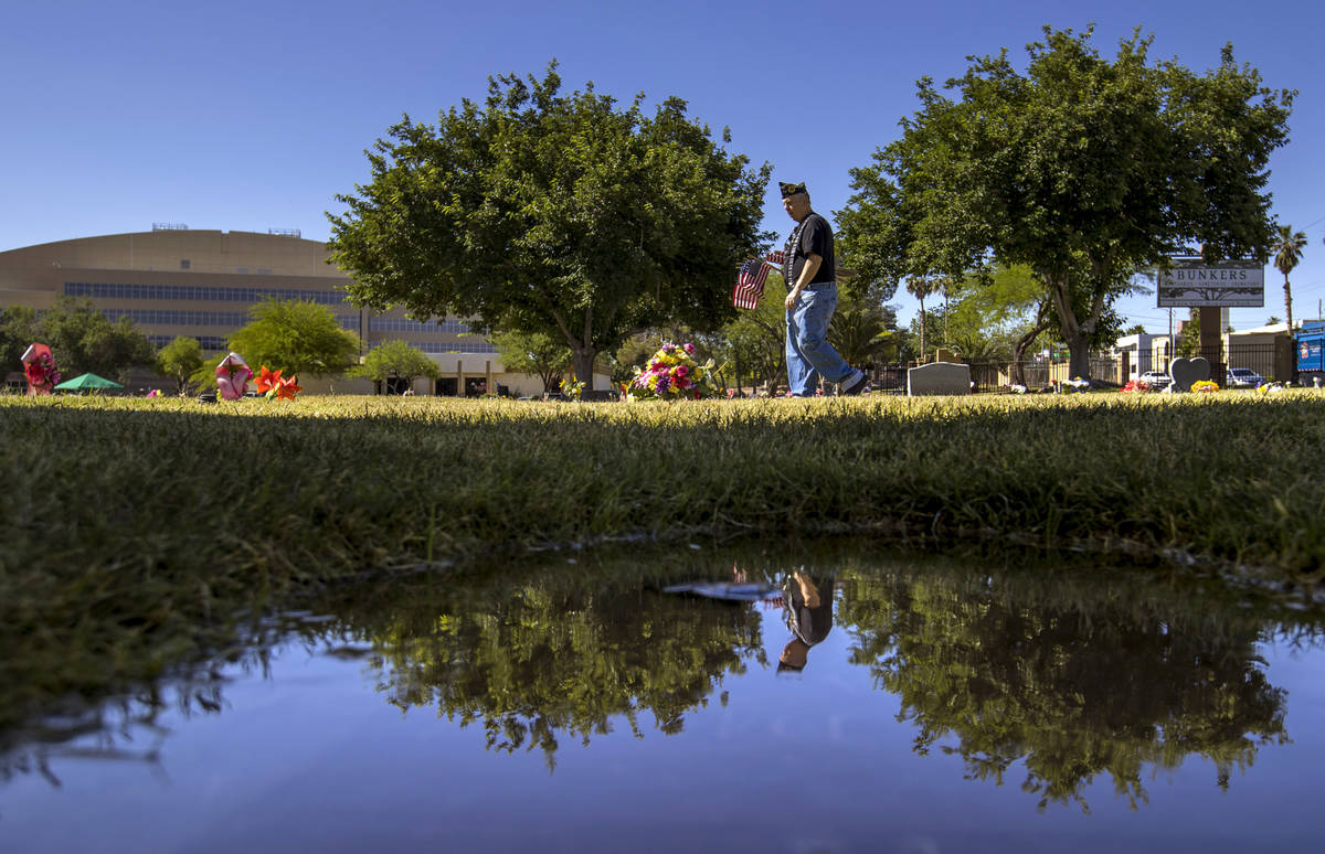 Army veteran Howard Greenspon is reflected in a small water puddle while looking to identify ve ...