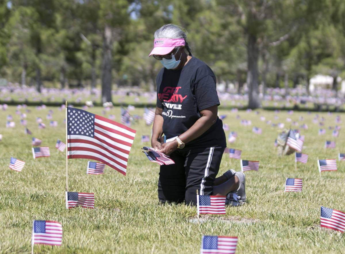Elaine McGlothen of Las Vegas visits the grave site of her ex-husband, U.S. Air Force Staff Sgt ...