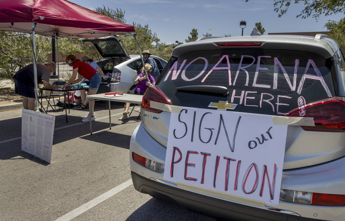 Henderson Coalition for Responsible Government volunteers seek signatures to force a ballot ini ...