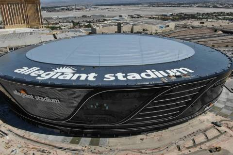 Aerial view of Allegiant Stadium with roof logo on Friday, May 8, 2020. (Michael Quine/Las Vega ...