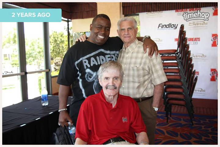 Former Raiders David Humm, front, and Frank Hawkins, top left, were two of Frank Nails, top rig ...