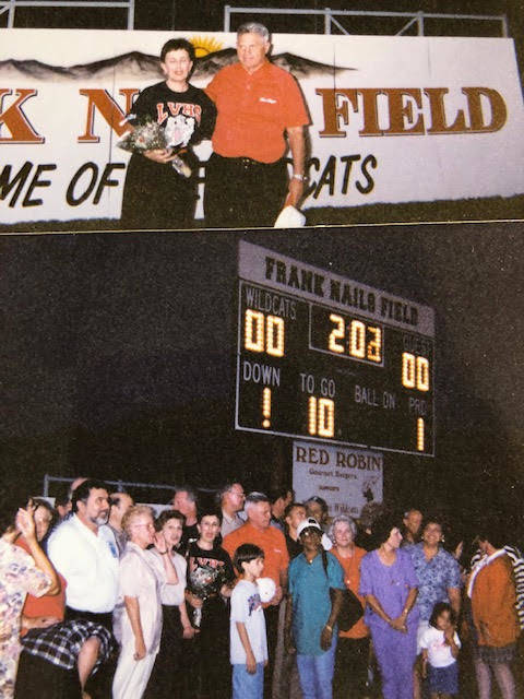 The football field at Las Vegas High School was named for Frank Nails (red shirt, center), who ...